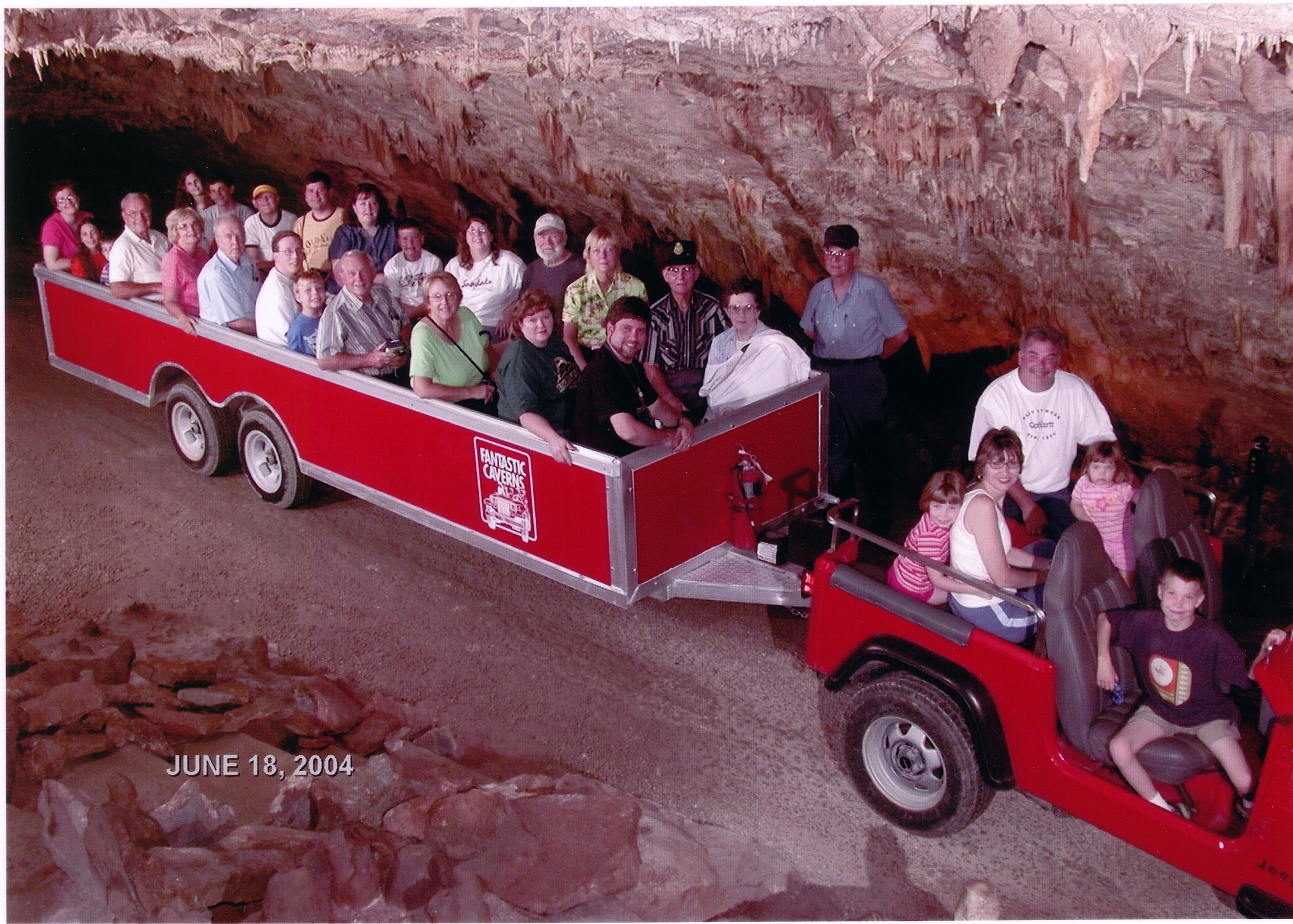 2004 OFHS meeting (Some OFHS members riding through the Caverns near Springfield, Missouri
